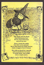 Halloween Poem, Witch, Pumpkin, Skull, Ghost, Spider, Postcard, Carte Postale