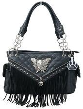 Sugar Skull Wings Purse Fringe Quilted Heart Zipper Concealed Carry Handbag Bag