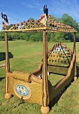 Incredible MacKenzie Childs Twin Rattan Wicker Canopy Poster Bed Free Delivery