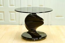 Hollywood Regency Style Spiral Toughened Glass Twister Lamp Table