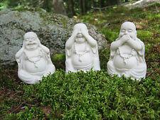 Three Buddha Statues, Concrete, Hear no evil, see no evil, speak no evil.