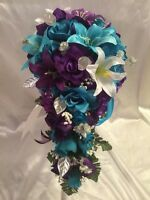 Turquoise Malibu Purple Lily Bridal Bouquet Cascade Package custom order welcome
