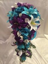 Turquoise Malibu Purple Lily Wedding Bridal Bouquet and groom and 2 bridesmaids