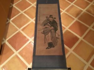Antique Chinese Scroll painting Qing18-19thC warrior signed 13 collector seals