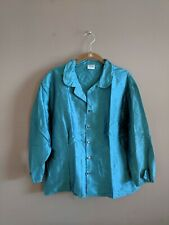 CP Shades Women's L Metallic 100% Silk Button Up Top Blouse Blue 3/4 Sleeve