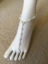 1 PC Barefoot Sandal, Bridal, Beach, Pearl Anklet Foot Jewelery