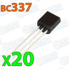 20x BC337 Transistor NPN BJT 45V 500mA 625mW 100MHz 400hFE TO-92