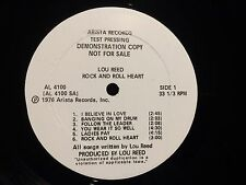 LOU REED TEST PRESSING Rock and Roll Heart AL 4100 Velvet Undergroud '76 Arista