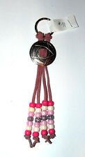 """6"""" Light Pink Leather Keychain w/ Concho Pink & White Beads 1"""" ring Handmade #71"""