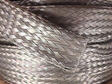 """1' Foot, 7/8"""" Tinned Copper Flat Braid Wire, Shielding Cable, Bare Ground Strap"""