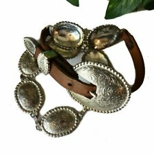 Vintage Silver and Brown Leather Concho Boho Belt Size Medium