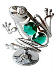 CRYSTOCRAFT Frog Crystal Ornament With Swarovski Elements Gift Boxed Green UK
