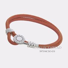 """Authentic Pandora Silver Orange Double Leather CZ Bracelet 13.8"""" 597194CSO-D1"""