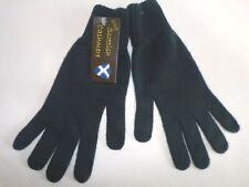 Scottish 100% 4 ply cashmere knitted warm soft finger gloves Mens Teal Dk Blue