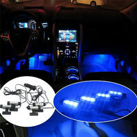 4x 3 LED Car Charge Interior Lamp Light blue Accessories Decorative Atmosphere