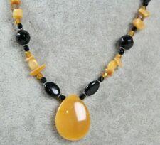 "Vintage Necklace 16"" Choker Black & Tan Tones w/ Tan Natural Stone Pendant"