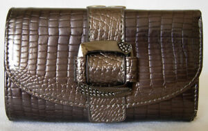 (A78) NEW PEWTER CROC LEATHER WALLET PURSE CLUTCH BAG