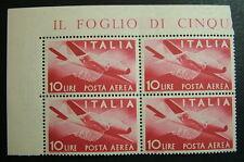 1945   Repubblica Italiana Democratica Posta Aerea  10  Lire  quartina  MNH**