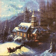 2 single paper napkins decoupage or collection Vintage winter night horses snow