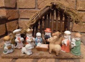 VINTAGE 12 PIECE CHRISTMAS NATIVITY SET - COLLECTIBLE - DISPLAY - PROP