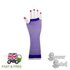 Sexy Halloween Purple Fishnet Gloves Retro Raver Fancy Dress Costume Fetish UK