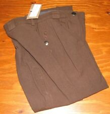 Equi-Theme Ladies Knee Patch Breeches Front Zip Pleated Size 24 Chocolate/Brown