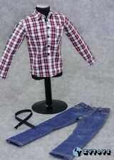 ZY Toys 1/6 Scale 2014 Version Set of Red Checker Shirt + Blue Jeans + Belt