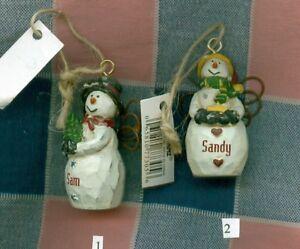Christmas Snowman Ornament Personalized White Kir-Miche