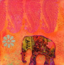 Indian thai elephant pink red painting art print canvas australia
