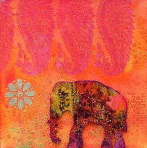Indian thai elephant pink red painting art print canvas australia