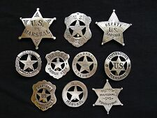 10  BADGES   MARSHALS, DEPUTY MARSHALS (BADGES OF THE OLD WEST)