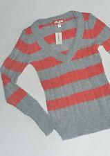 Aeropostale Junior Clothes Angora Sweater Stripe Grey Coral S $44