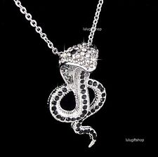 WHITE GOLD PLATED DIAMANTE 3D COBRA SNAKE PENDANT NECKLACE USE SWAROVSKI CRYSTAL