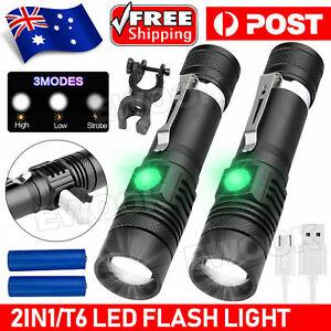 2X 60000lm LED Flashlight Torch For Bike Mount USB Rechargeable T6 XM-L AU