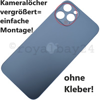 iPhone 12 Pro echt Glas Pazifikblau Akkudeckel Rückseite backcover big hole Blau