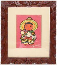 Vintage Silkscreen Print WPA Artist Gisella Loeffler NM Pueblo Child Wood Frame