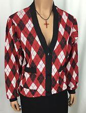 Hang Ten Red Black & White Cardigan Womens Size M Vintage