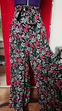 COLLECTIFUK10  VINTAGE STYLE WIDE PALAZZO SUMMER RETRO FLORAL TROUSERS