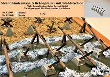 Für Diorama Nr.1260B Strandhindernisse 6 Betonpfeiler m. Stahlstreben 1:72 Resin