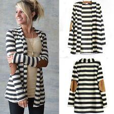 Womens Striped Waterfall Cardigan Sweater Long Sleeve Casual Slim Skinny Jacket