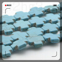 Beads Natural Howlite Turquoise Gemstone Square cross Spacer Loose Strand 15.5''
