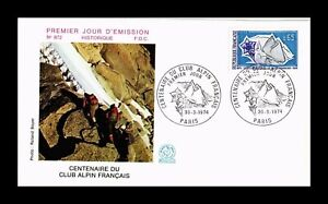 DR JIM STAMPS CENTENNIAL ALPINE CLUB FIRST DAY ISSUE FRANCE COVER 1974