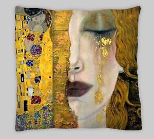 Gustav Klimt Style Freya's Tears Double Sided Polyester  Cushion Covers 18X18