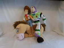 "Disney Pixar 17"" Toy Story Woody 19"" Buzz Lightyear + 17"" Bulleye Plush Stuffed"