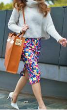Zara L Floral Body Con Skirt Size 12 14