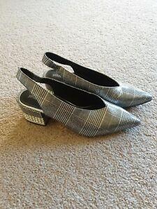 Jeffrey Campbell Ladies Shoe Heel Houndstooth Tartan Diamante Sling Back Sz...