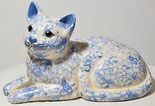 12  Inch Long Vintage Porcelain Ceramic Cat Statue Figurine