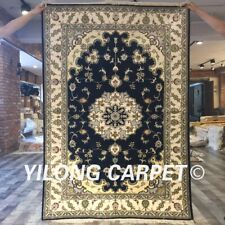 Yilong 4'x6' Blue Home Decor Handmade Silk Rugs Living Room Area Carpet Y403C