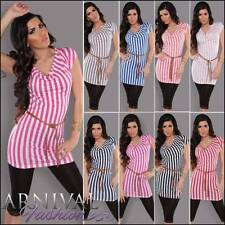 Regular Striped Tunic Short Sleeve Tops & Blouses for Women