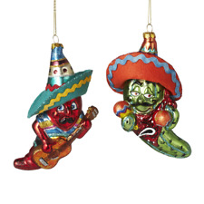 """Chili Peppers Red Green Ornament Set 2 5"""" Glass Cinco De Mayo Mexico Christmas"""